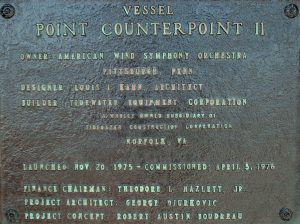 A plaque memorializing those involved in the creation of Point Counterpoint II.